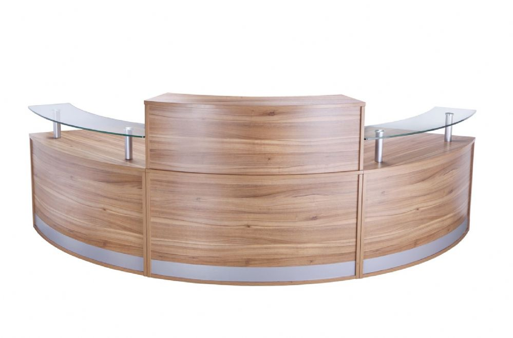 Curved Reception Counter, Dual Heights, Three Sections, 872mm, Two Glass Shelves. Choice of Finish